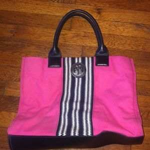 Tory Burch canvas tote bag pink blue leather purse